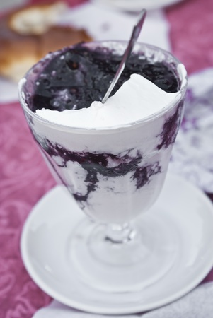 Sicilian granita with whipped cream and mulberry.Messina, Sicily photo