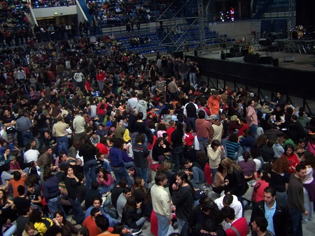 PALERMO, - March 2007: A crowd of people at the concert of Francesco Guccini in Palasport on March 03, 2007  in Palermo, Italy.