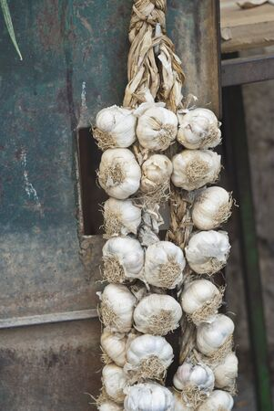 braids of garlic for sale in the historic market photo