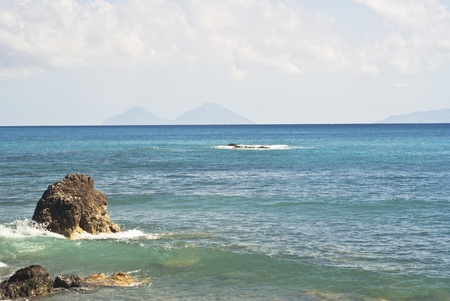 filicudi: view of the Aeolian Islands from the Brolo beach in the province of Messina, Sicily