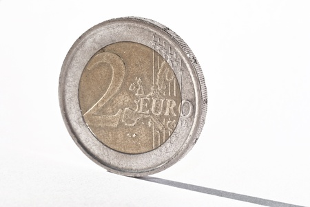 Euro coin isolated on ehite background photo