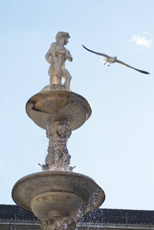 wather: Pretoria Fountain with wather drops in Palermo, Sicily. Marble statue and seagull