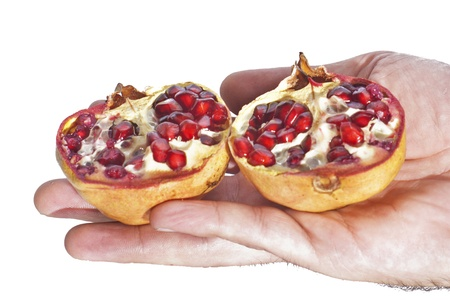 fresh pomegranate in her hand. isolated on white background Stock Photo - 16986049