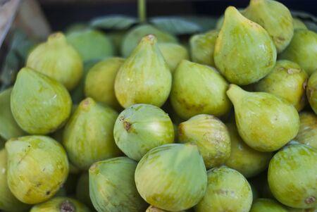 Fresh green figs. close-up Stock Photo - 17045649