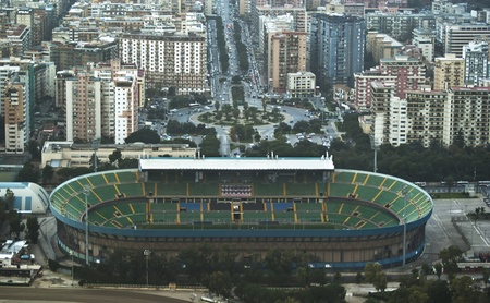 beautiful aerial view of Palermo with its stadium and buildings. Palermo, Sicily, Italy
