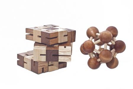 teaser: Cervello di legno Teaser su sfondo bianco Archivio Fotografico