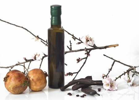 composition of typical Mediterranean products and a bottle of olive oil photo