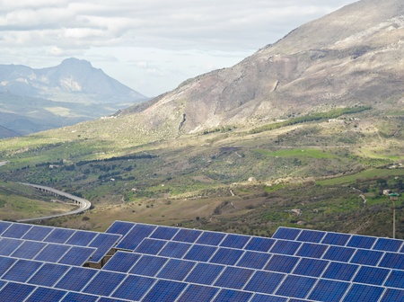 View of solar panels in the Madonie mountains. Sicily photo