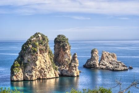 Faraglioni at Scopello in high dynamic range, Sicily