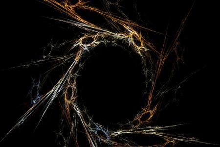 抽象的ないばらの冠を黒の背景のフラクタル性について 写真素材