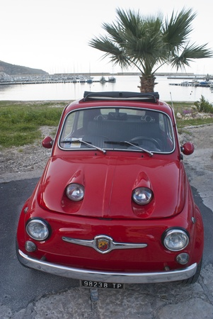 CASTELLAMMARE DEL GOLFO (TP) ITALY - MARCH 23: Fiat 500 car on display at Fiat 500 meeting on March 23, 2013 in Castellammare del golfo (TP) Sicily-Italy