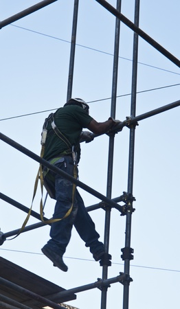 construction worker man on scaffold photo