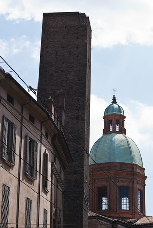 Dome and asinelli tower in Bologna, Italy photo