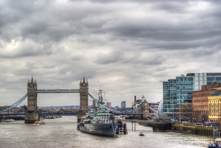 beautiful view of the tower bridge in hdr. London photo
