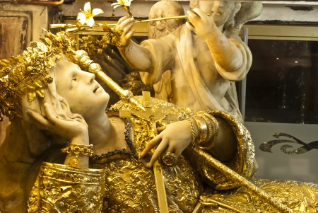santa rosalia: Golden Saint Rosalie in The sanctuary of Santa Rosalia Santuzza, Palermo. Sicily
