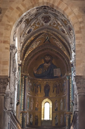 catholic wedding: The Christ Pantokrator. Cathedral-Basilica of Cefalu, is a Roman Catholic church in Cefalu, Sicily, southern Italy.