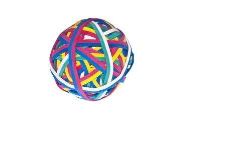 elastic band: Elastic band, rubber band ball isolated on white background