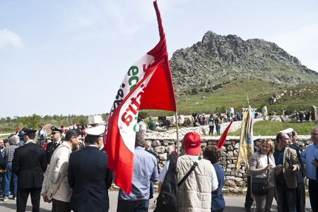 PIANA DEGLI ALBANESI - MAY 01: march that from Piana degli Albanesi will end at Portella della Ginestra, site of the massacre of farm laborers and workers, in Piana degli albanesi, Sicily, Italy on May 01, 2013