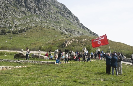 massacre: PIANA DEGLI ALBANESI - MAY 01: march that from Piana degli Albanesi will end at Portella della Ginestra, site of the massacre of farm laborers and workers, in Piana degli albanesi, Sicily, Italy on May 01, 2013