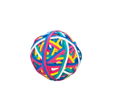 elastic band: Elastic band, rubber band ball isolated on white background