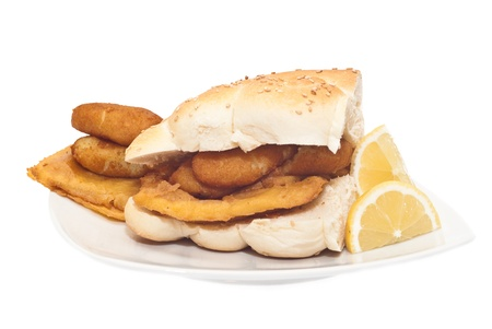 Sandwich with panelle and crocchette on white background. typical Sicilian food photo