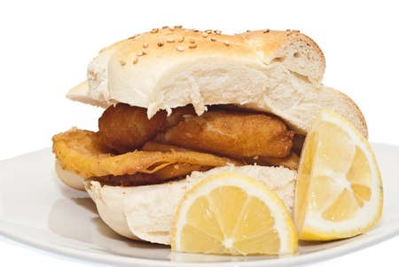 crocchette: Sandwich with panelle and crocchette on white background. typical Sicilian food
