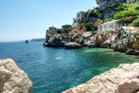 Sicilian coast with crystal clear water at Scopello, Sicily, Italy Standard-Bild