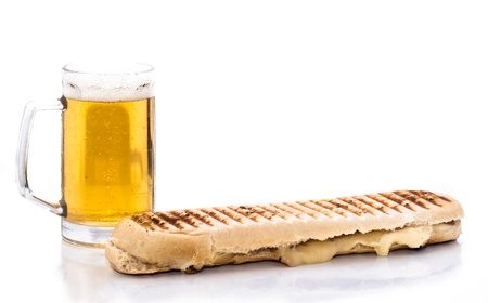sandwich and beer isolated on white photo