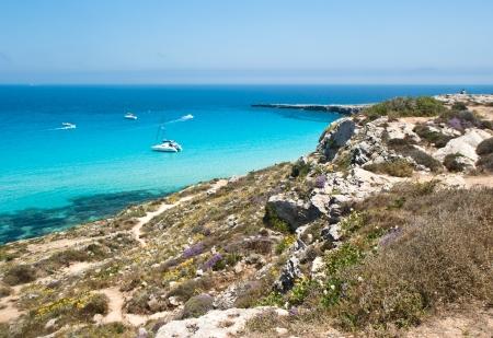 the wonderful beach in Favignana island Sicily, Italy, Aegadian