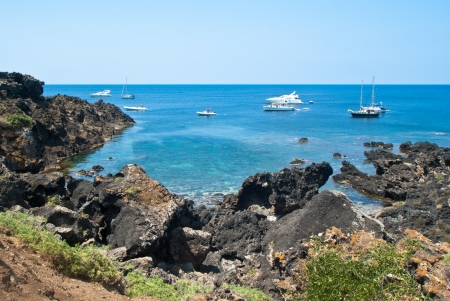 The wonderful beach in Ustica island Sicily, Italy
