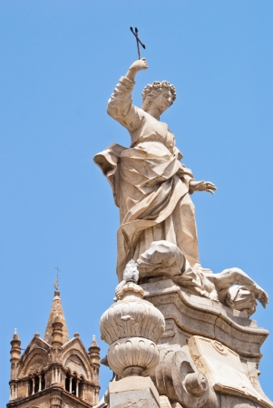santa rosalia: Statue of Santa Rosalia next to the cathedral of Palermo  Sicily, Italy Stock Photo