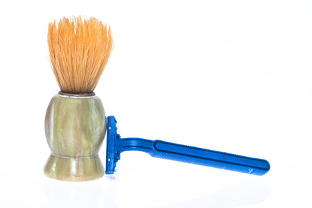 aftershave: shaving brush and razor on a white  Stock Photo