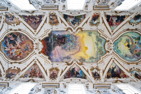 PALERMO, ITALY - MAY 28, 2013: Modern fresco of Last judgment by Frederico Spoltoze from year 1954 and oder works on ceiling of church La chiesa del Gesu or Casa Professa