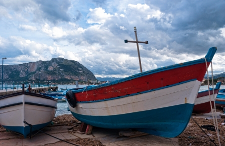 Old boat at Mondello beach in Palermo, Sicily photo