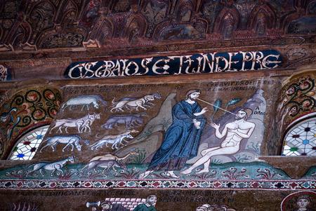 cappella: PALERMO, ITALIA-MARZO ,25-2012: Mosaicos de la Cappella Palatina. La Capilla Palatina en el Palace.Palatine Capilla normandos en Norman palacio en el estilo de la arquitectura bizantina del a�o 1132 - 1170