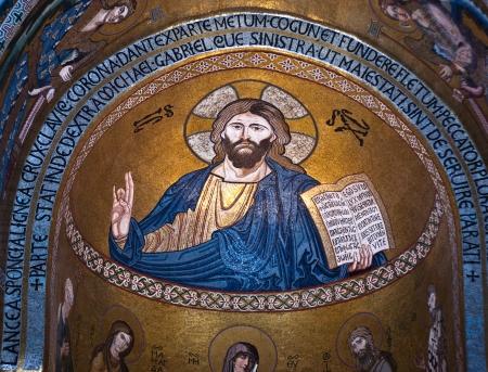 cappella: PALERMO, ITALIA-MARZO ,25-2012: Mosaico de Jes�s Cristo de Cappella Palatina. La Capilla Palatina en el Palacio de los normandos. Editorial