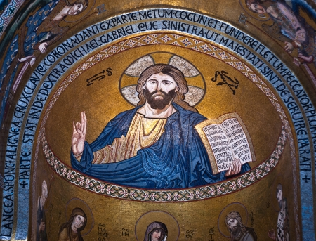 PALERMO, ITALY- MARCH,25-2012: Mosaic of Jesus Christ from Cappella Palatina. The Palatine Chapel in the Normans Palace.