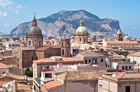 View of Palermo with old houses and monuments  sicily italy Archivio Fotografico