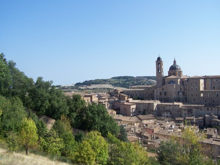 view of the town of urbino italy photo