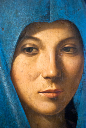 PALERMO, ITALY -JANUARY, 03-2013: Detail of painting -Annunciata by Antonello da Messina, 1476, preserved in the Abatellis palace.