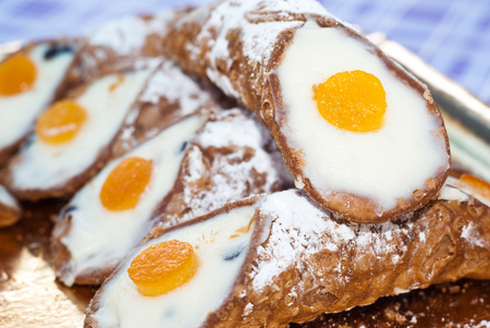 annealed: Sicilian cannoli with orange typical sicilian sweet