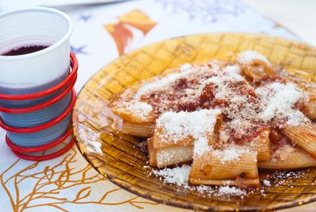 maccheroni: Maccheroni with tomato sauce  Typical italian pasta