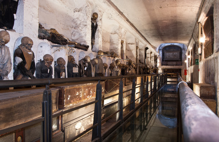 PALERMO - ITALY, JUNE 09, 2014: Catacombs of the Capuchins are burial catacombs in Palermo. Today they provide a somewhat macabre tourist attraction