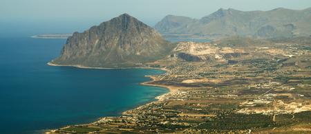 tyrrhenian: Italy, Sicily, view of Cofano mount and the Tyrrhenian coastline from Erice  Trapani