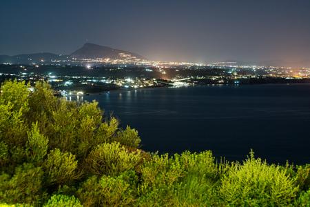 Panoramic night cityscape of Terrasini, Palermo, Sicily, Italy photo