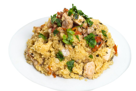 Couscous grain dish with swordfish and other vegetables Standard-Bild