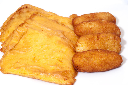 crocchette: panelle and crocchette on white background. typical Sicilian street food