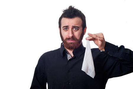 Businessman holding a handkerchief photo