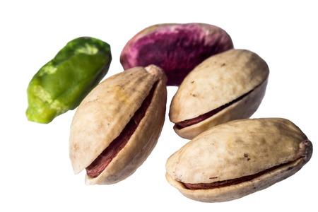 munch: pistachio isolated on a white background.macro Stock Photo