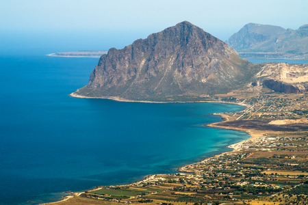 erice: view of Cofano mount and the Tyrrhenian coastline from Erice, Sicily, Italy